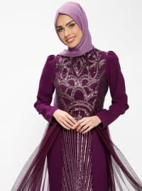 Purple - Fully Lined - Crew neck - Muslim Evening Dress