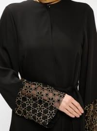 Black - Gold - Unlined - Crew neck - Abaya