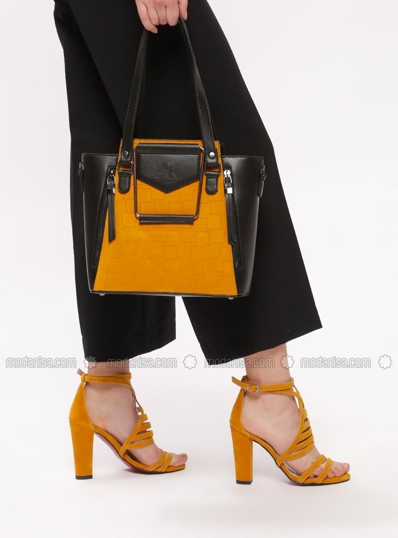 439f8dca957770 Noir - Jaune - A talons - Ensembles Chaussure & Sac