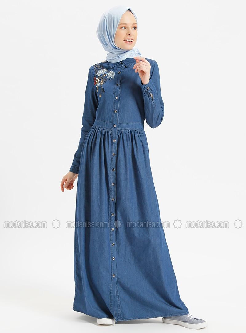 fb48d3443f6 Navy Blue - Point Collar - Unlined - Cotton - Denim - Dresses
