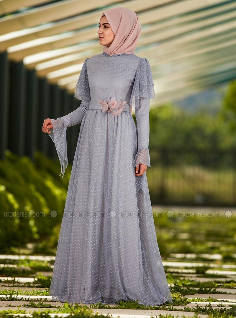 blau - mit innenfutter - stehkragen - festlicher hijab