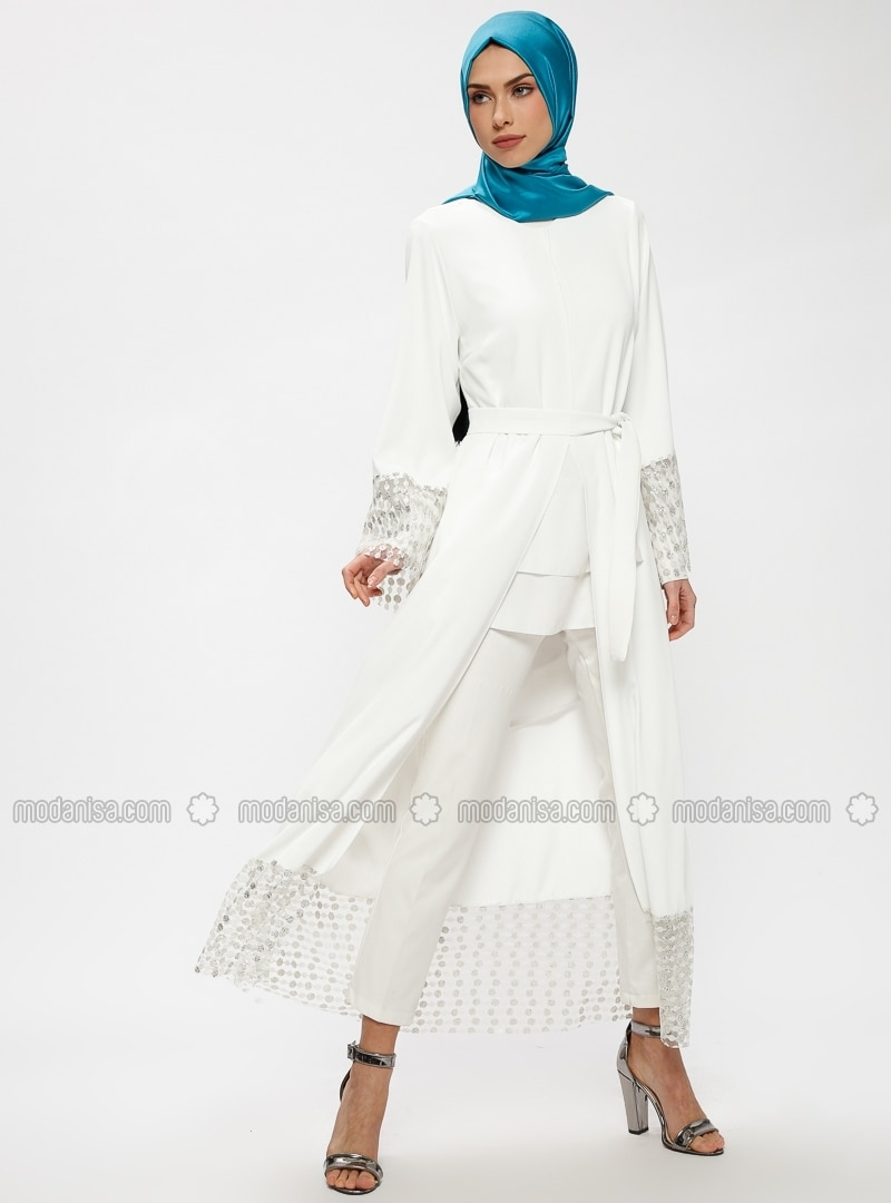 Ecru - Unlined - Crew neck - Abaya