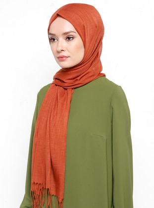 Orange - Plain - Fringe - Linen - Shawl