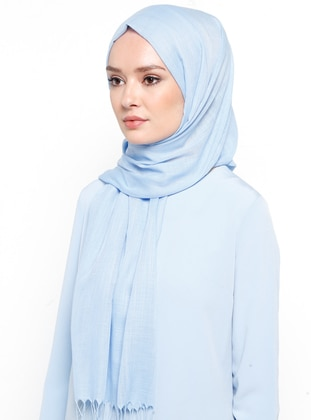 Blue - Plain - Fringe - Linen - Shawl