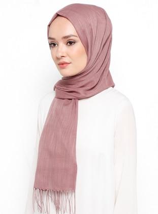 Pink - Plain - Fringe - Linen - Shawl