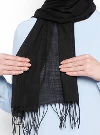 Black - Plain - Fringe - Linen - Shawl