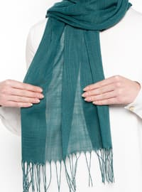 Green - Plain - Fringe - Linen - Shawl