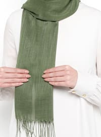 Khaki - Plain - Fringe - Linen - Shawl
