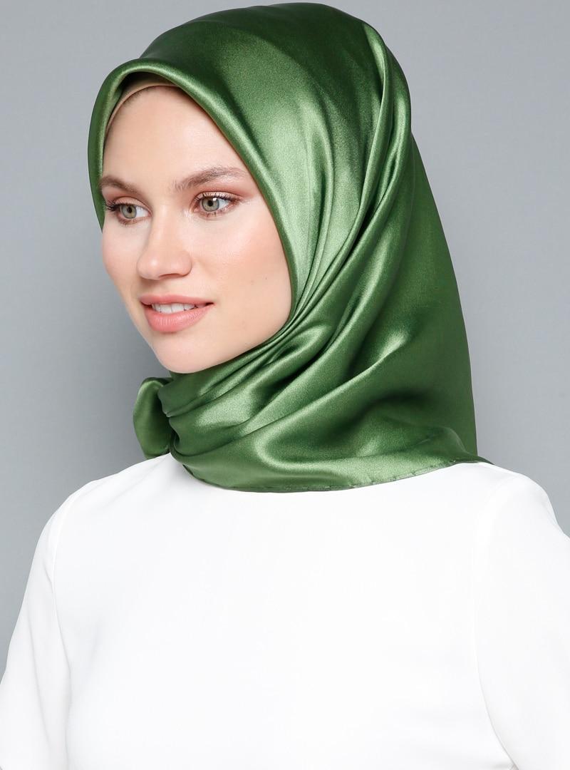 Tesettür %100 İpek Eşarp Kayra Yeşil Kadın Standart
