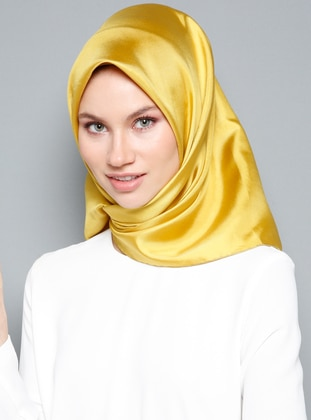 Yellow - Plain - %100 Silk - Scarf