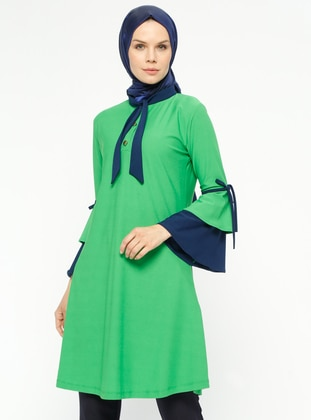 Green – Navy Blue – Polo Neck – Tunic – Rtw Trend