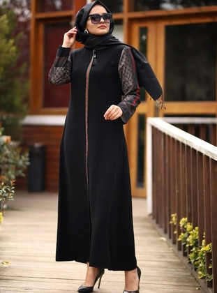 Green - Black - Unlined - Crew neck - Abaya