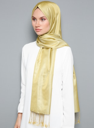 Yellow - Plain - Fringe - %100 Silk - Shawl