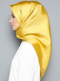 Yellow - Plain - %100 Silk - Scarf
