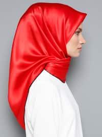 Red - Plain - %100 Silk - Scarf