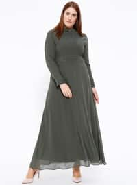 Şifon İncili Abiye Elbise - Haki - Sevilay Giyim