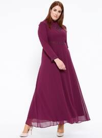 Şifon İncili Abiye Elbise - Mürdüm - Sevilay Giyim