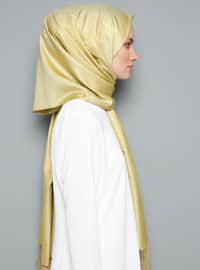Yellow - Plain - Fringe - %100 Silk - Shawl