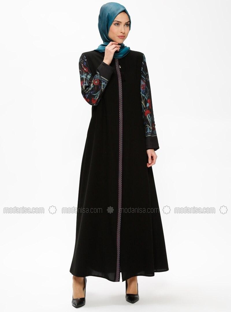 Blue - Black - Unlined - Crew neck - Abaya