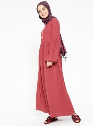 Pink - V neck Collar - Unlined - Dresses - Dadali 429116