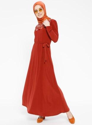 Orange - Crew neck - Unlined - Dresses - Dadali 429122