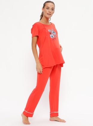 Orange - Crew neck - Pyjama