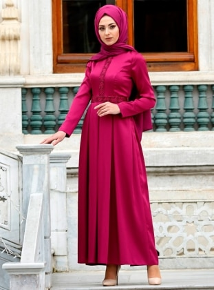 Pink - Purple - Fully Lined - Crew neck - Muslim Evening Dress - Eldia By Fatıma