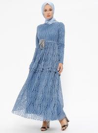 Dantelli Elbise - İndigo - Puane