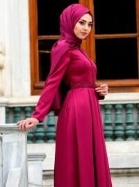 Pink - Purple - Fully Lined - Crew neck - Muslim Evening Dress - Eldia By Fatıma