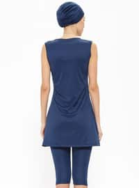 Navy Blue - Multi - Half Lined - Half Covered Switsuits