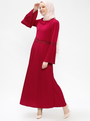 Fuchsia - Crew neck - Fully Lined - Dresses