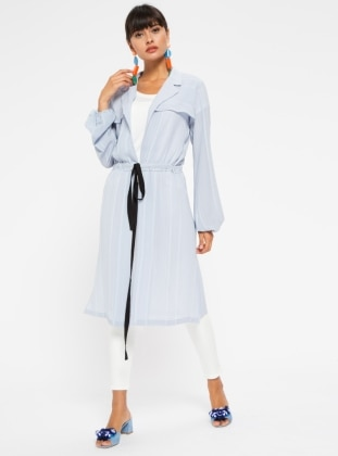 Blue - Stripe - Unlined - V neck Collar - Trench Coat