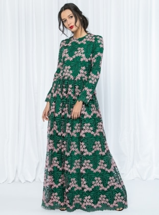 Green - Pink - Floral - Crew neck - Fully Lined - Dresses