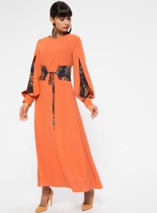 Orange - Crew neck - Dresses