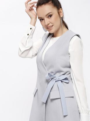 Blue - Unlined - V neck Collar - Vest
