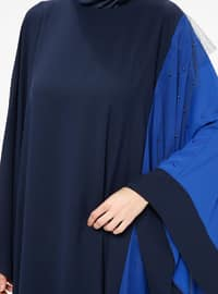 Navy Blue - Saxe - Unlined - Crew neck - Abaya