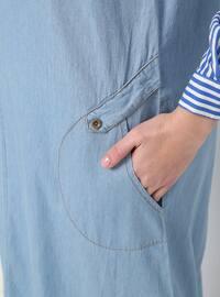 Blue - Crew neck - Unlined - Cotton - Denim - Dresses