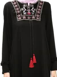 Black - Crew neck - Unlined - Viscose - Dresses