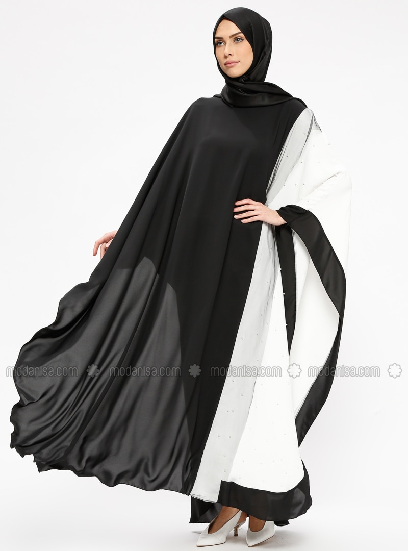 Black - Ecru - Unlined - Crew neck - Abaya