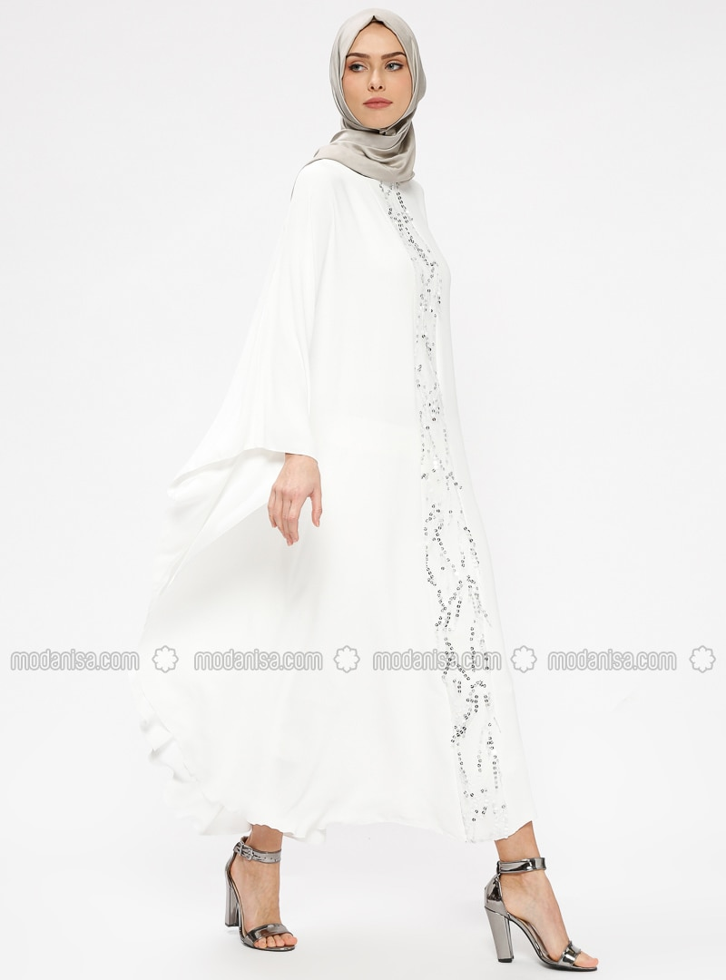 Ecru - Crew neck - Unlined - Dresses