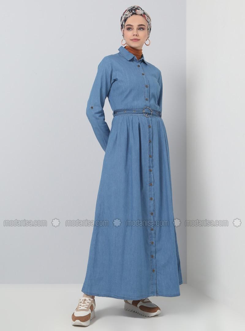 Bleu - Col français - Tissu non doublé - Coton - Jean - Robe 5dd7f570ca4