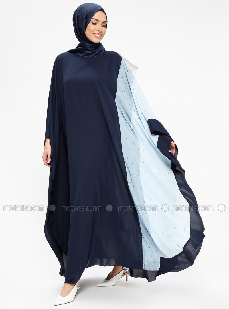 Blue - Navy Blue - Unlined - Crew neck - Abaya