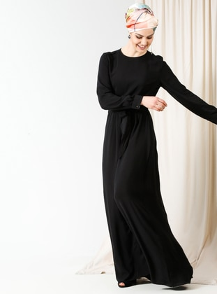kuşaklı elbise - siyah - miscats