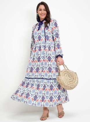 çini desenli elbise - mavi - alia