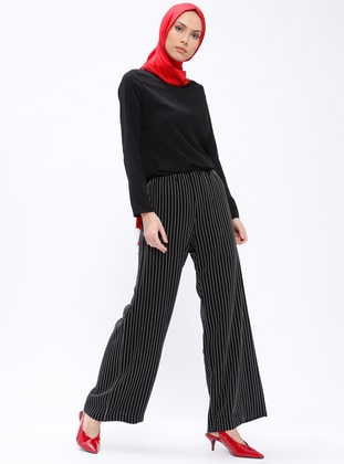 Black - Stripe - Pants - Al Tatari