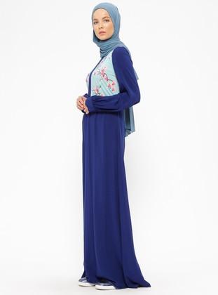 Navy Blue - Floral - Crew neck - Unlined - Dresses