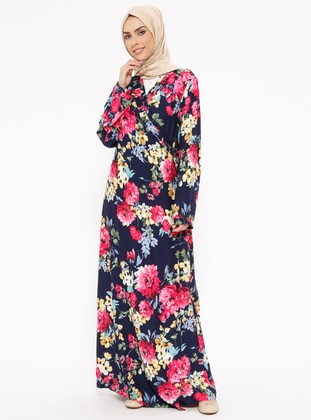 Navy Blue - Floral - Unlined - Prayer Clothes