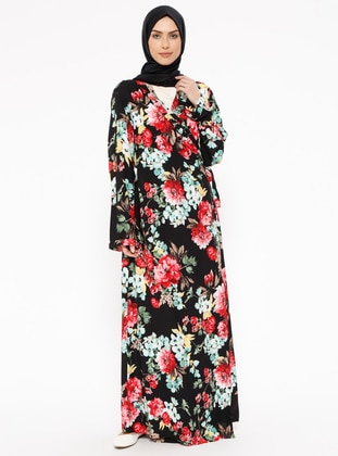 Black - Floral - Unlined - Prayer Clothes