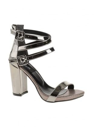 Gray - Silver tone - Sandal - Sandal - DERİGO