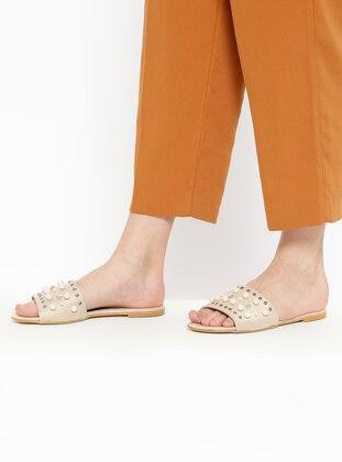 Beige – Sandal – Slippers – Bambi